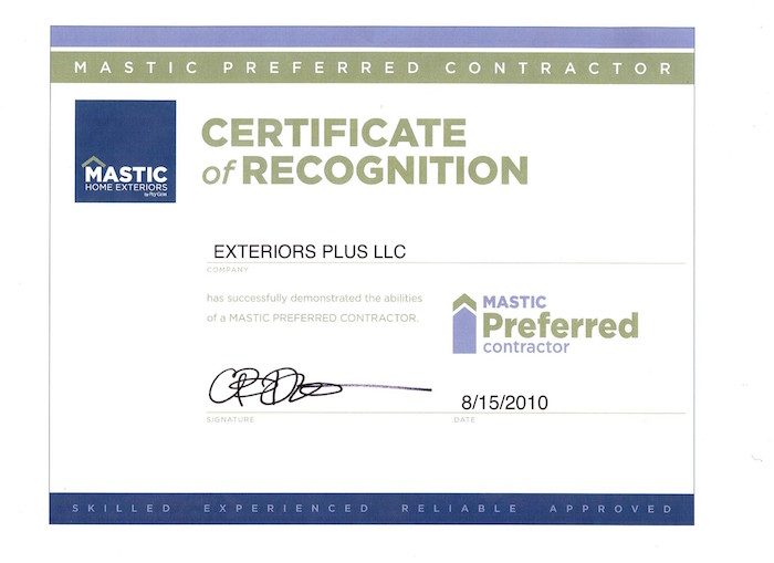 Mastic Home Exteriors Certificate of Recognition